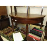 George III mahogany half round side table on square tapering moulded supports