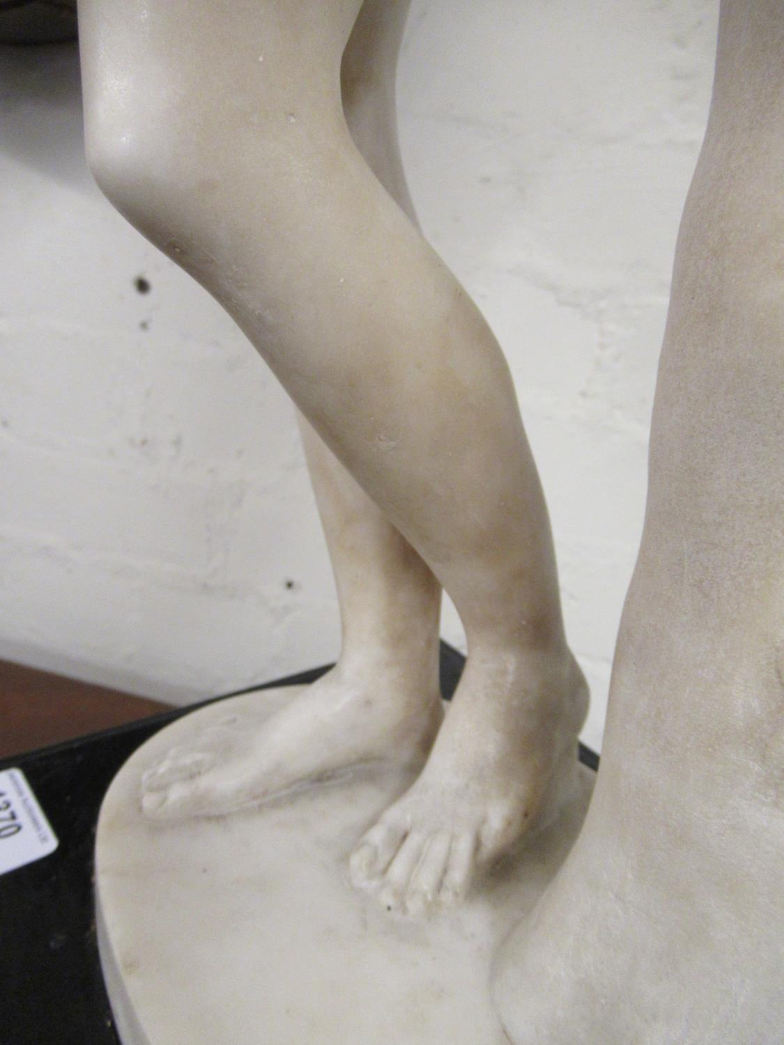 19th Century carved marble figure of Apollo leaning on a tree stump with quiver, 24ins high ( - Image 11 of 16