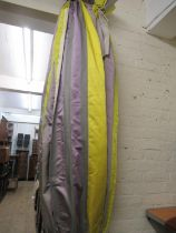 Pair of good quality curtains with pleated headings in striped mauve, yellow and grey, fully