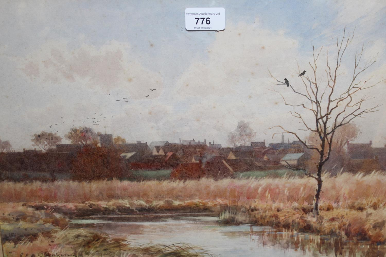 Octavius Rickatson, watercolour, river landscape with a distant town, signed, 11.25ins x 17.25ins, - Image 2 of 2