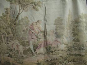 Machine tapestry hanging panel depicting figures in a landscape