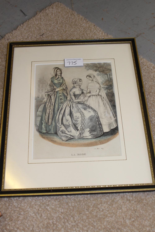 Framed coloured stipple engraving, portrait of Jenny Lind together with three framed fashion - Image 7 of 7