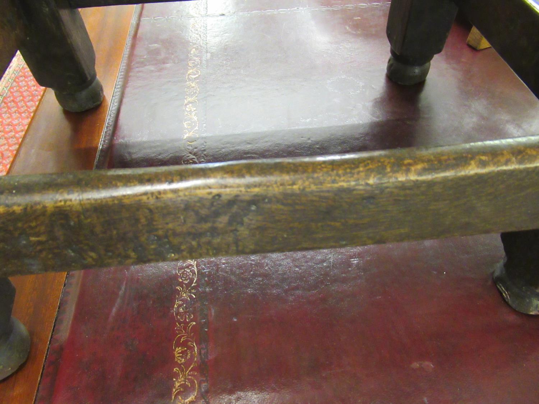 Charles II small oak drop leaf stool / table, circa 1680, the oval hinged top raised on turned - Image 9 of 9