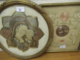 Circular silk and wirework picture ' The Holy Family ', together with a silk embroidered