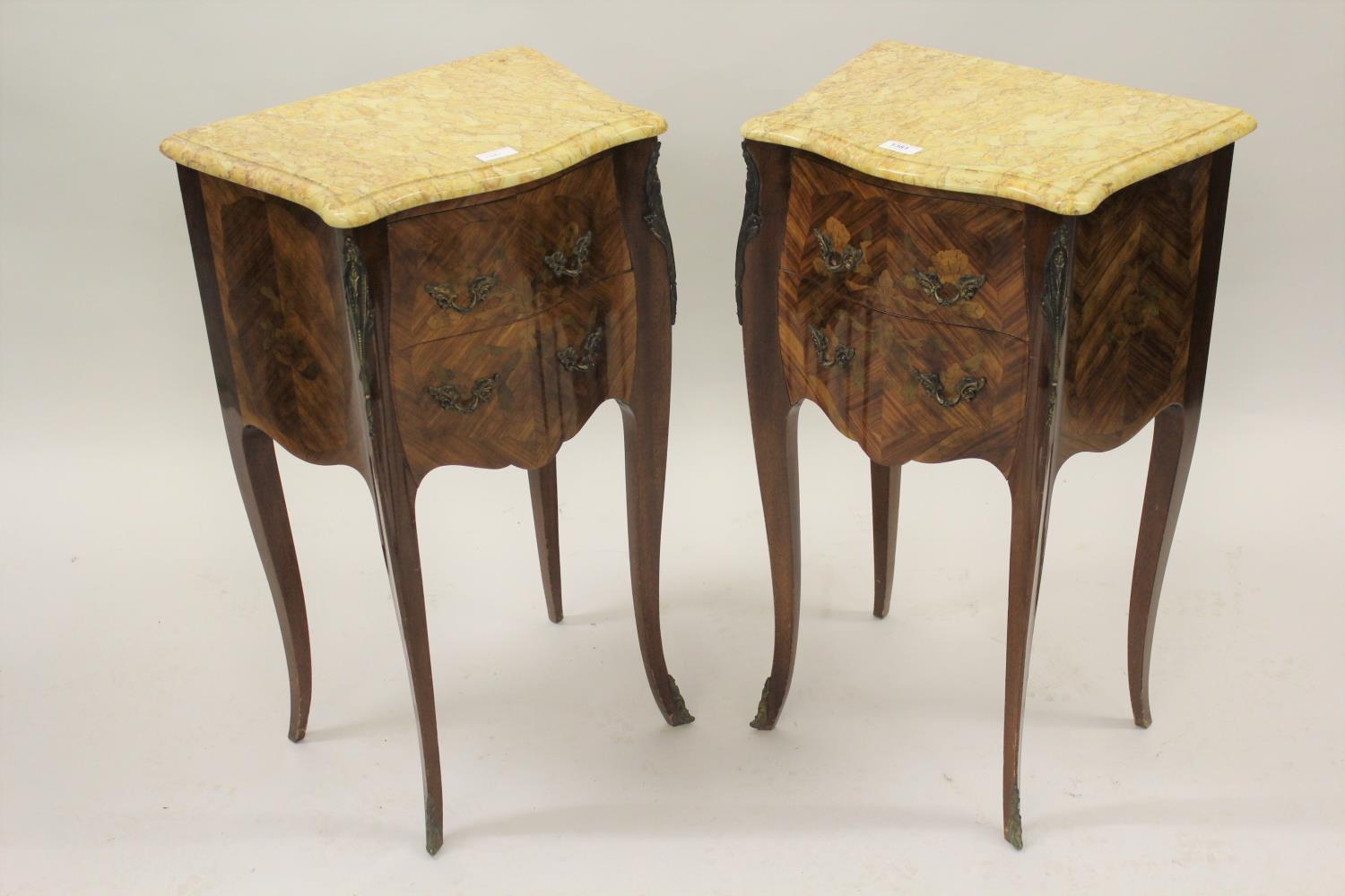 Pair of 20th Century French Kingwood marquetry inlaid and gilt brass mounted serpentine shaped - Image 2 of 7