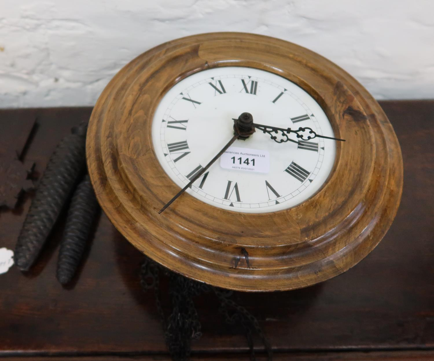 Continental circular dial clock, the dial with Roman numerals and two train weight driven movement