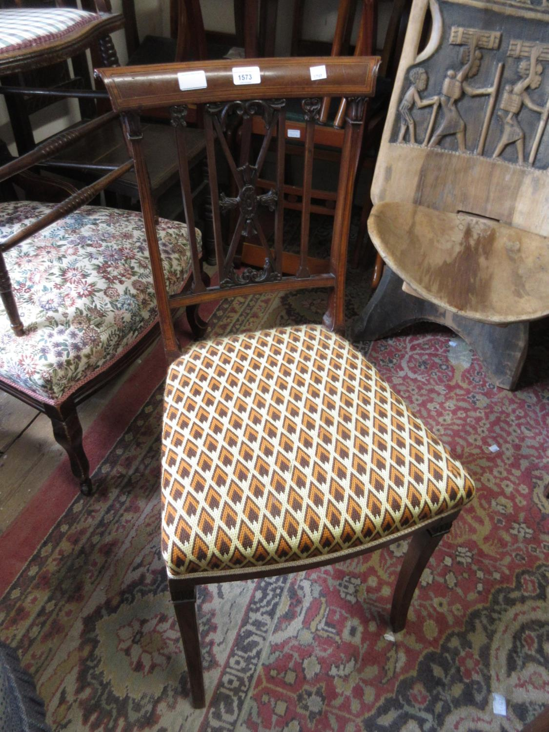 Edwardian mahogany and inlaid side chair with carved splat back together with an oak smoker's bow