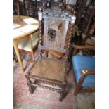 17th Century walnut side chair with carved cresting rail, cane back and seat on barley twisted