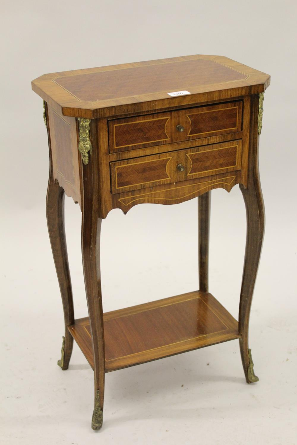 Reproduction French Kingwood side / occasional table, the irregular octagonal top above two