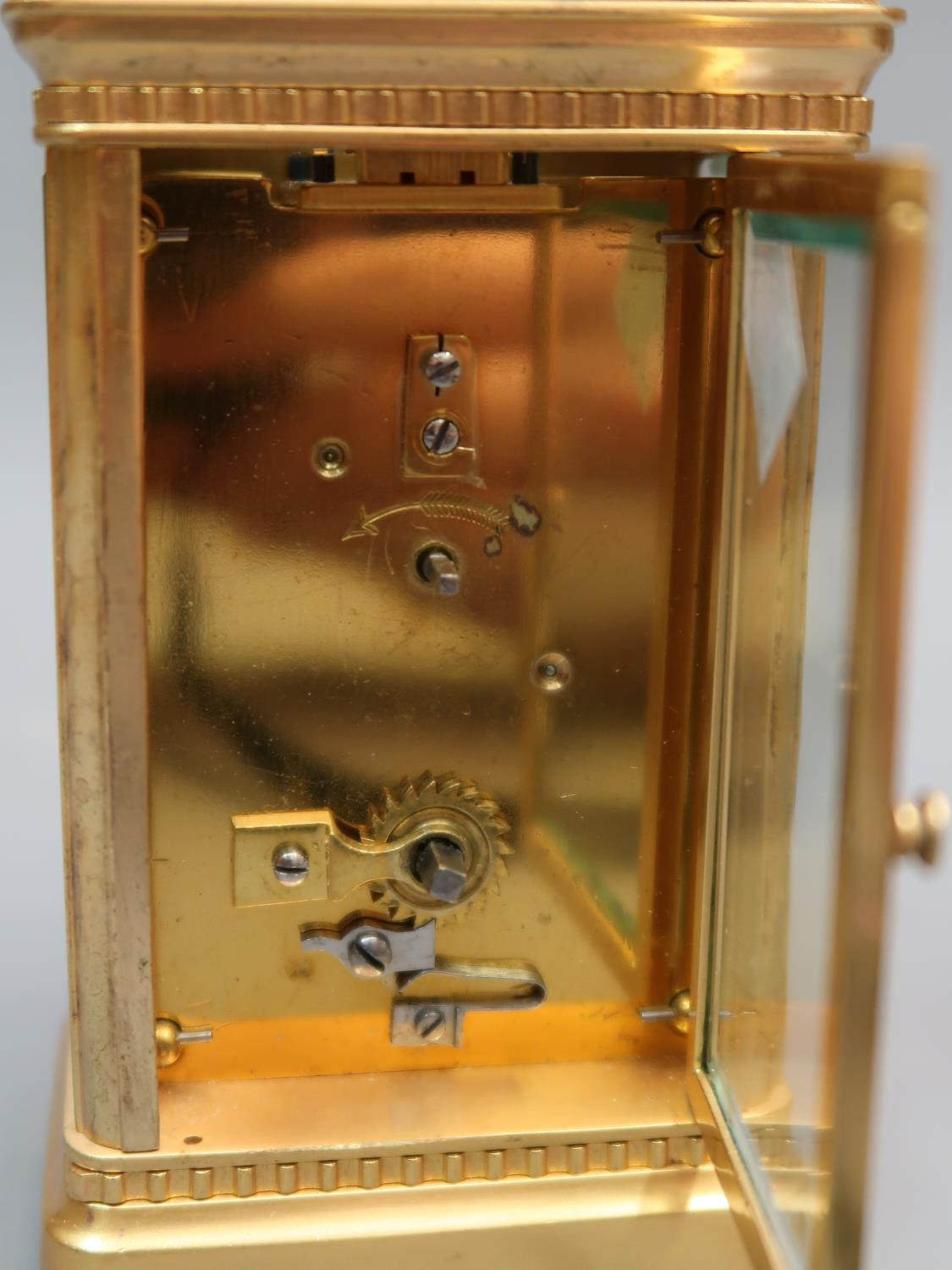 Early 20th Century gilt brass cased carriage clock, the enamel and gilt fretwork dial with Roman - Image 3 of 3