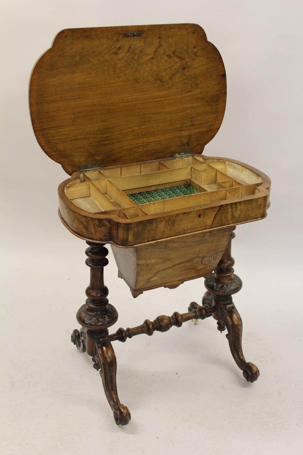 Victorian figured walnut marquetry inlaid work table, the hinged top enclosing a fitted interior and - Image 2 of 2