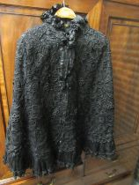 Victorian ladies black cape labelled E. Francis & Sons, Leamington Spa