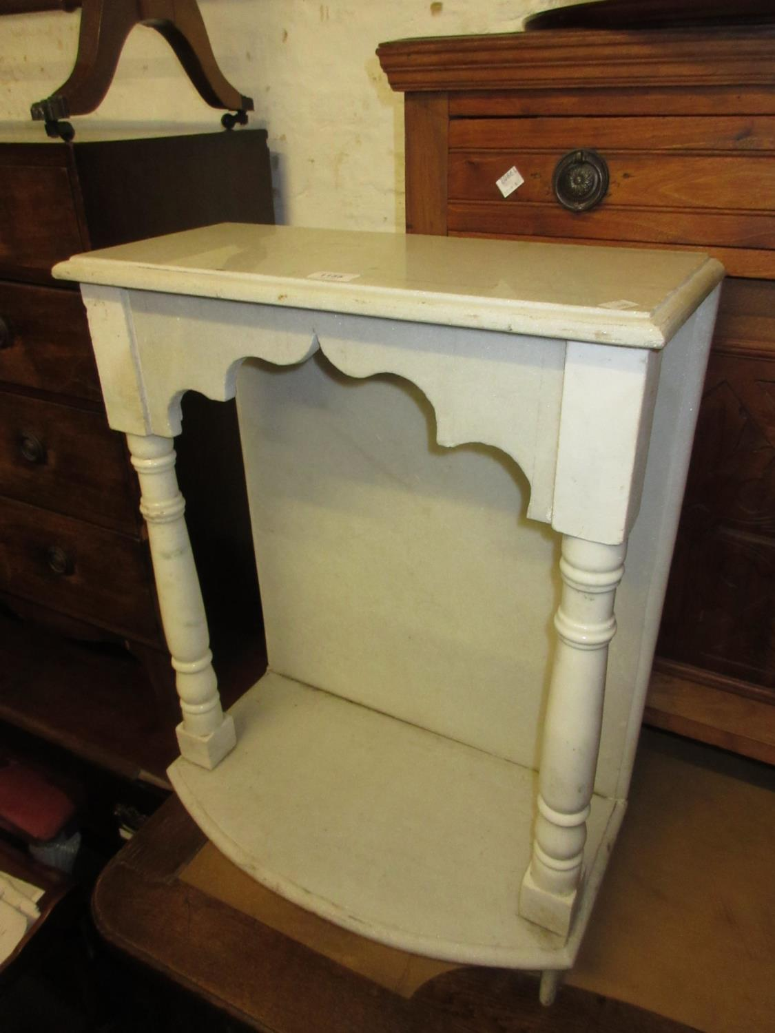 Eastern marble table top altar piece having shaped marble frieze supported by two turned marble