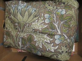 Quantity of vintage Morris & Co. artichoke fabric, approximately 11ft x 5ft, together with three