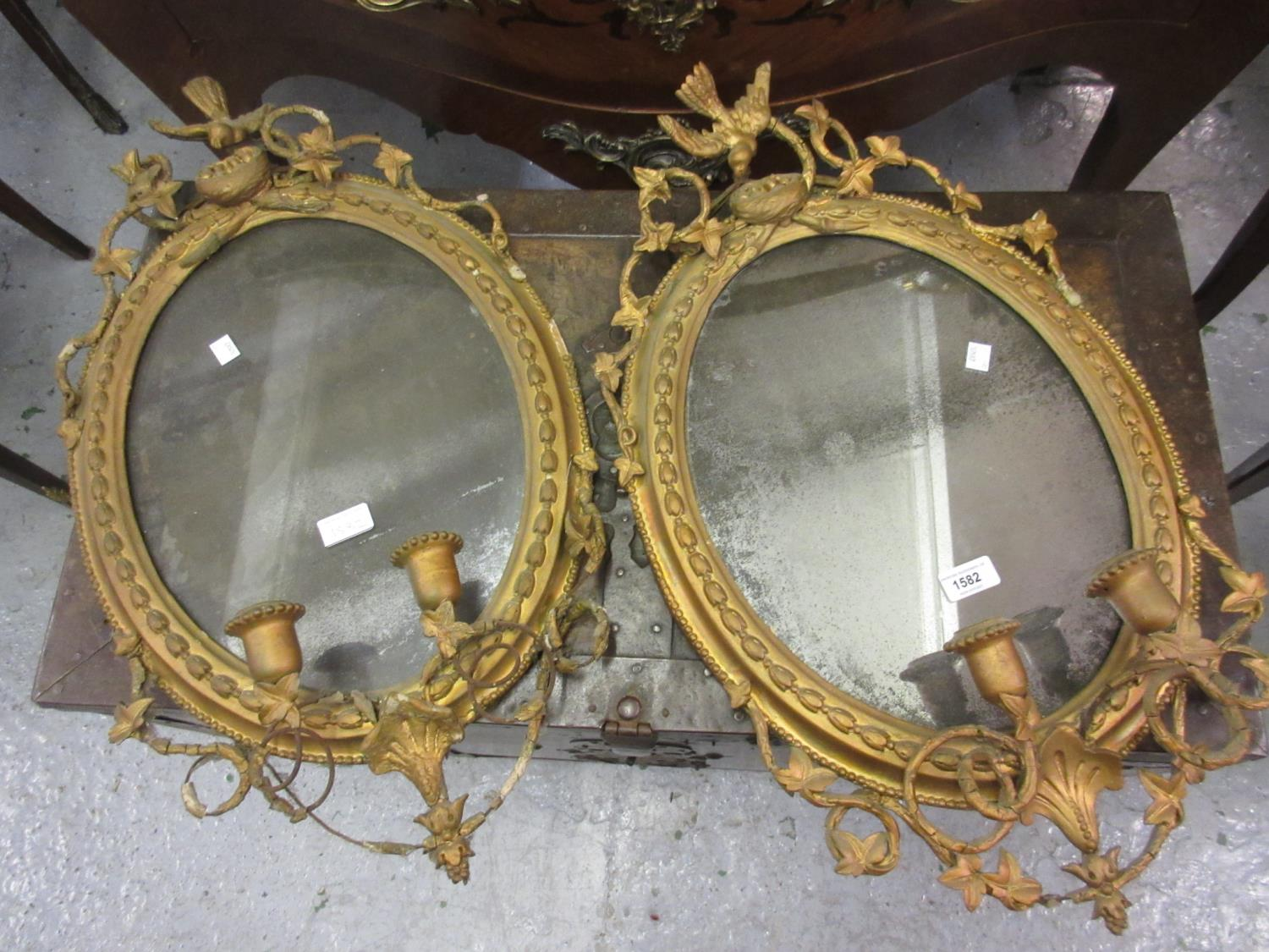 Pair of 19th Century gilded composition girandoles (damages), 26ins high