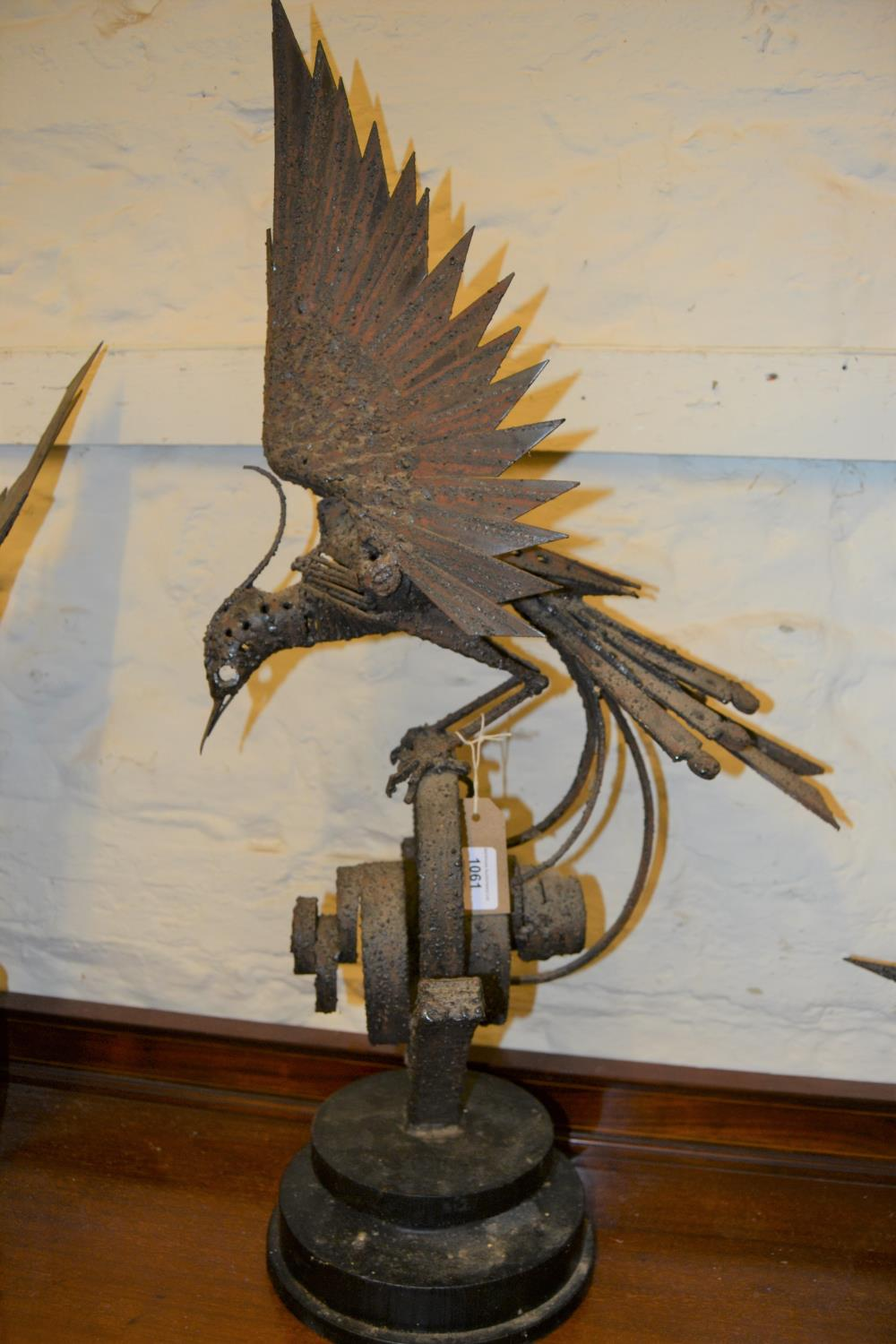 Walenty Pytel (Polish born 1941), welded industrial steel sculpture of an exotic bird on a scroll - Image 2 of 3