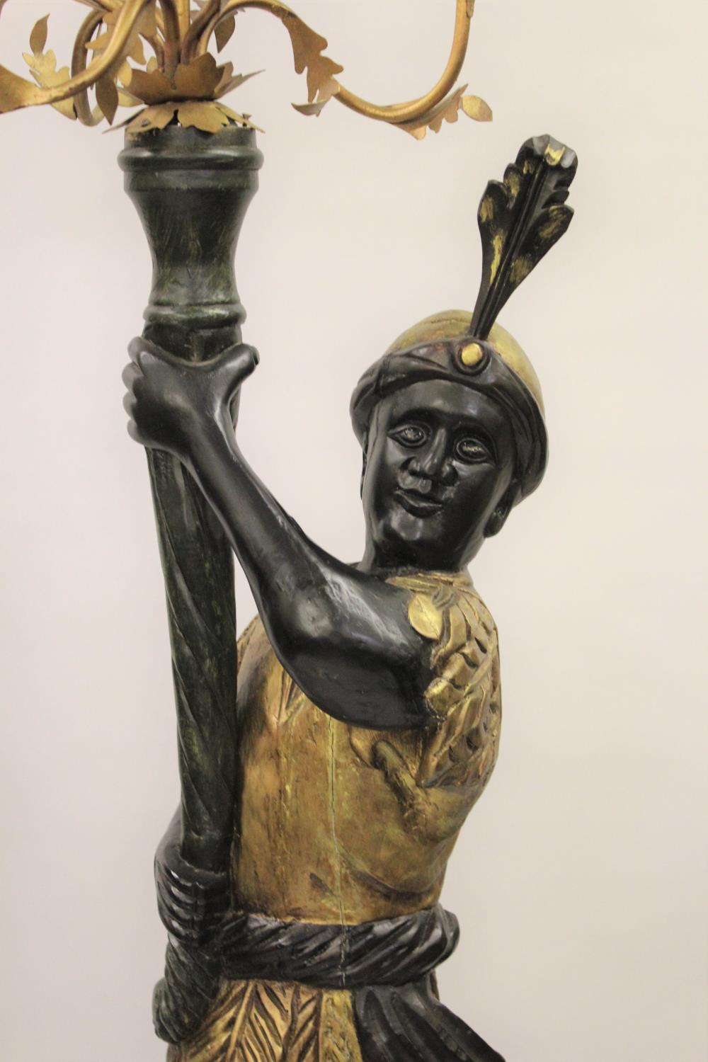 Pair of reproduction carved, gilded and ebonised lamp standards in the form of Venetian blackamoor - Image 2 of 3