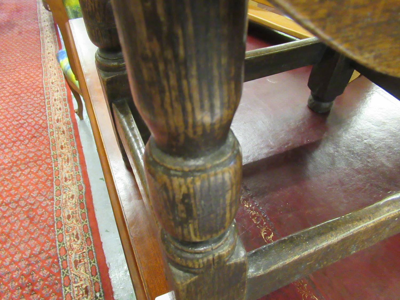 Charles II small oak drop leaf stool / table, circa 1680, the oval hinged top raised on turned - Image 8 of 9