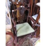 19th Century mahogany splat back open elbow chair with drop-in seat raised on square tapering