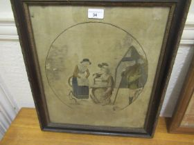 Berlin silkwork panel, figures with cat by a cottage in original carved ebonised and gilded frame,
