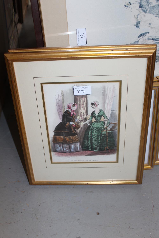 Framed coloured stipple engraving, portrait of Jenny Lind together with three framed fashion - Image 4 of 7