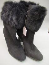Pair of Via Spiga black suede ladies fur trimmed boots with zip fastening, 4inch heals, size 39.5