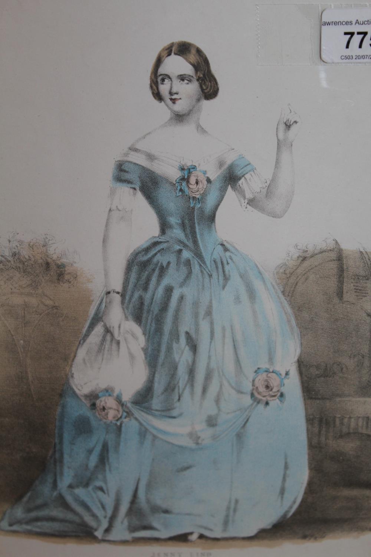 Framed coloured stipple engraving, portrait of Jenny Lind together with three framed fashion - Image 2 of 7