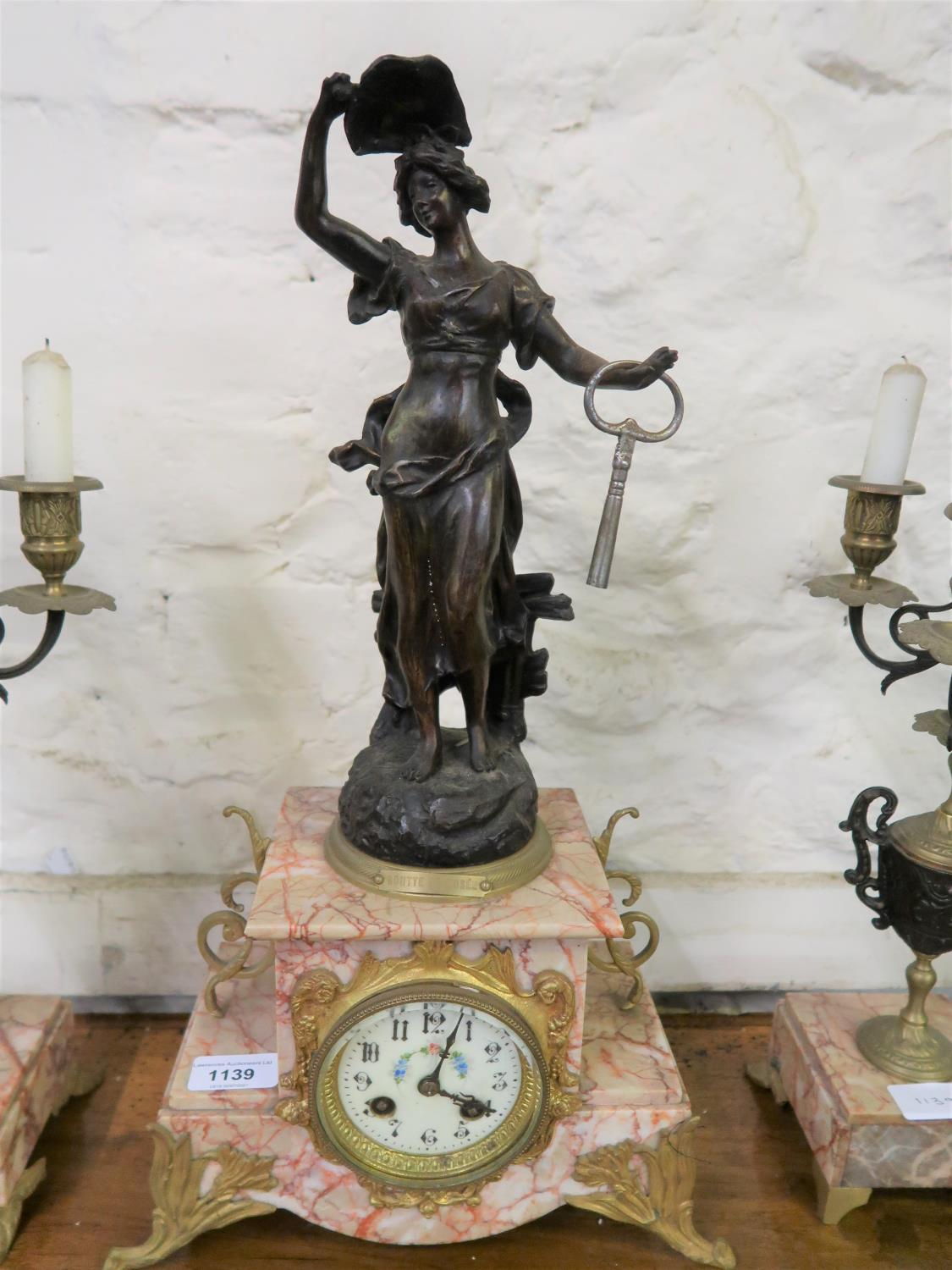 Late 19th Century French dark patinated spelter gilt brass and pink veined marble three piece - Image 2 of 3