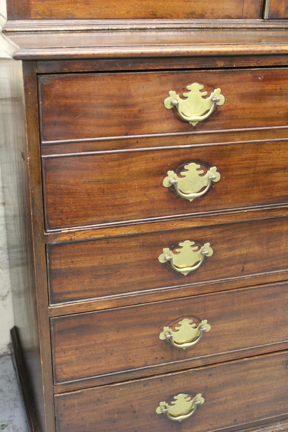 George III mahogany secretaire bookcase, the moulded cornice above a pair of bar glazed doors - Image 2 of 3