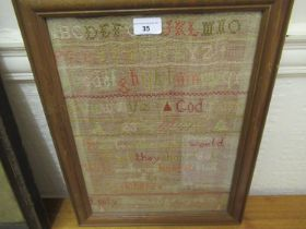 Late 19th Century needlework alphabet and moto sampler, by Emily Thomas in 1896, 15.5ins x 11.