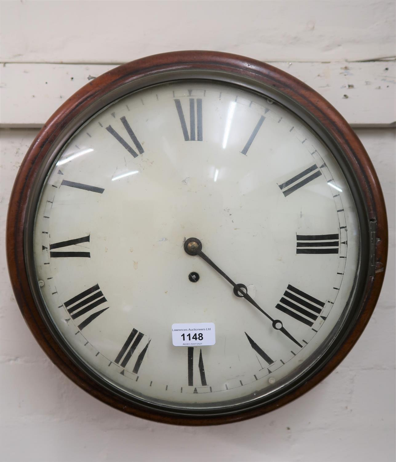 19th Century mahogany wall clock, the circular painted 12in convex dial with Roman numerals and