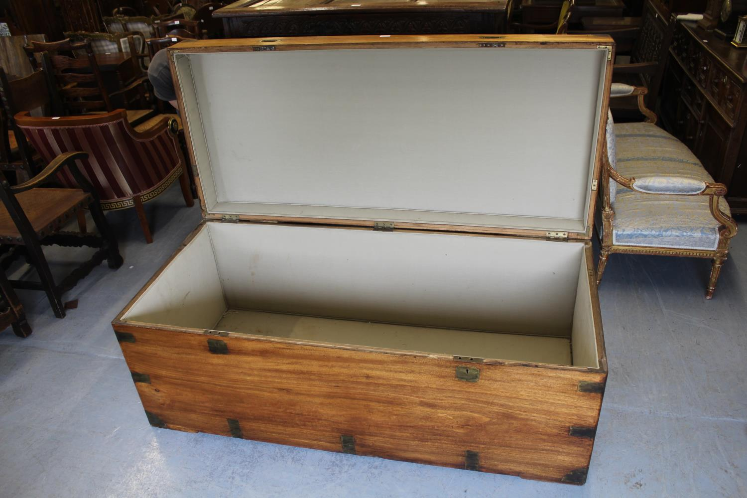 Massive 19th Century camphor wood and brass bound trunk, the hinged lid with twin recessed brass - Image 3 of 3