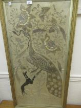 Asian silkwork, silver thread and sequin picture of a peacock and dog in foliage (at fault), gilt