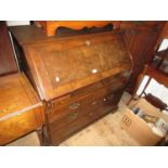 George III mahogany bureau, the fall front enclosing a fitted interior above further drawers, on