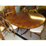 Good quality reproduction mahogany rosewood crossbanded and boxwood line inlaid D-end dining table