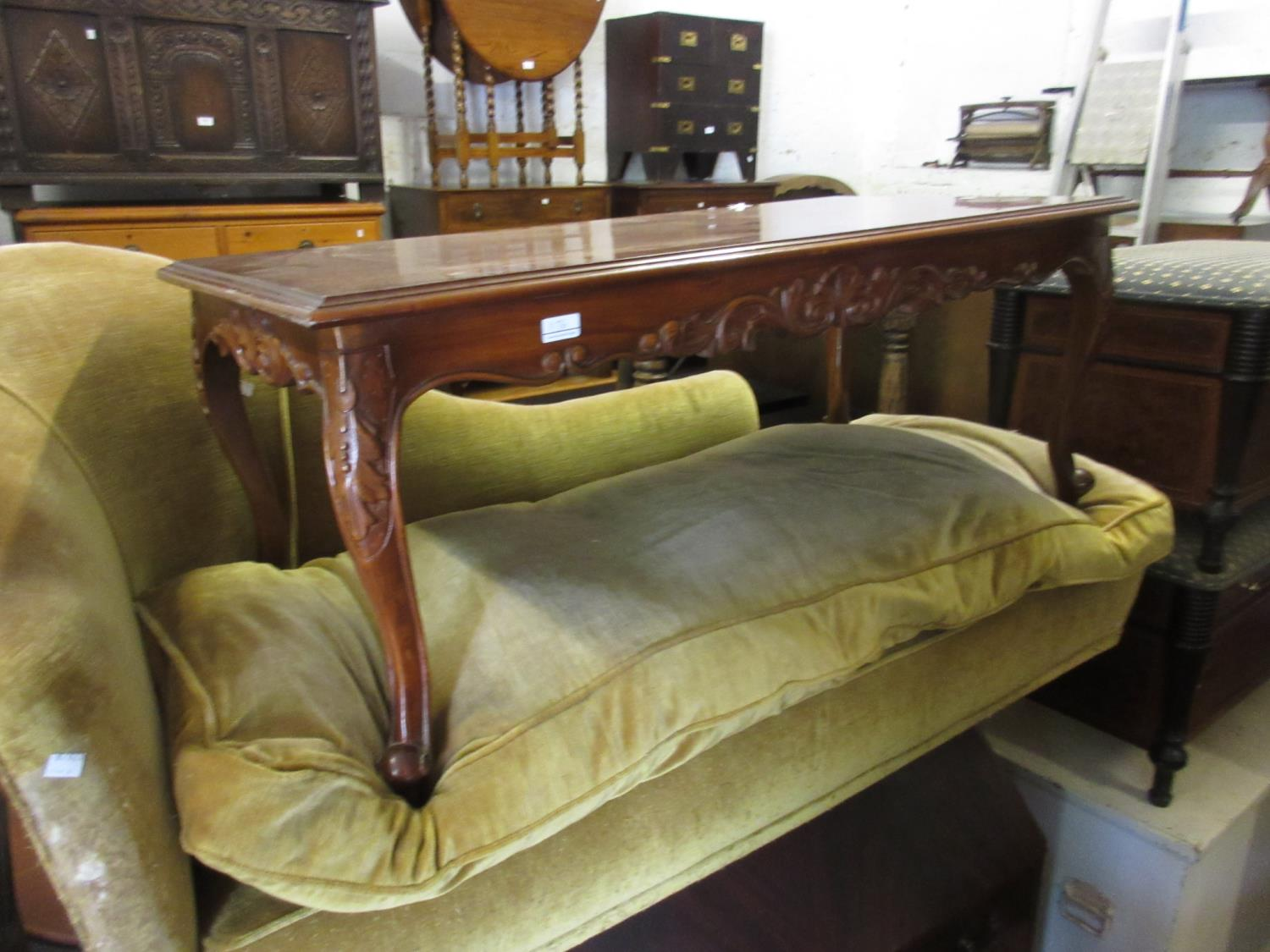 Chinese hardwood rectangular occasional table and 20th Century mahogany coffee table on carved - Image 2 of 2