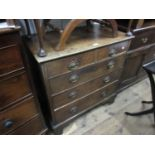 Small 18th Century oak chest of two short and three long graduated drawers with later oval brass