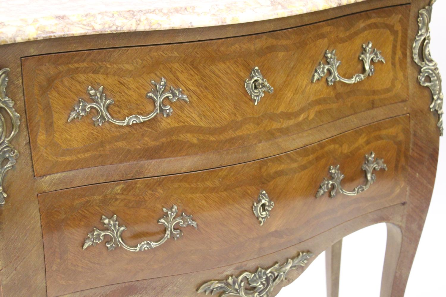Small 20th Century French Kingwood inlaid and ormolu mounted commode, the rouge marble top above two - Image 2 of 12