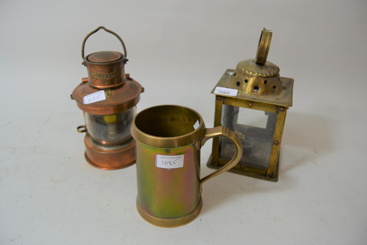 Brass and copper studded square hanging lantern, 10ins high, reproduction copper ships lantern and a