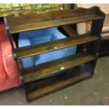 Stained pine waterfall type open bookcase, 43ins wide x 9ins deep x 42ins high