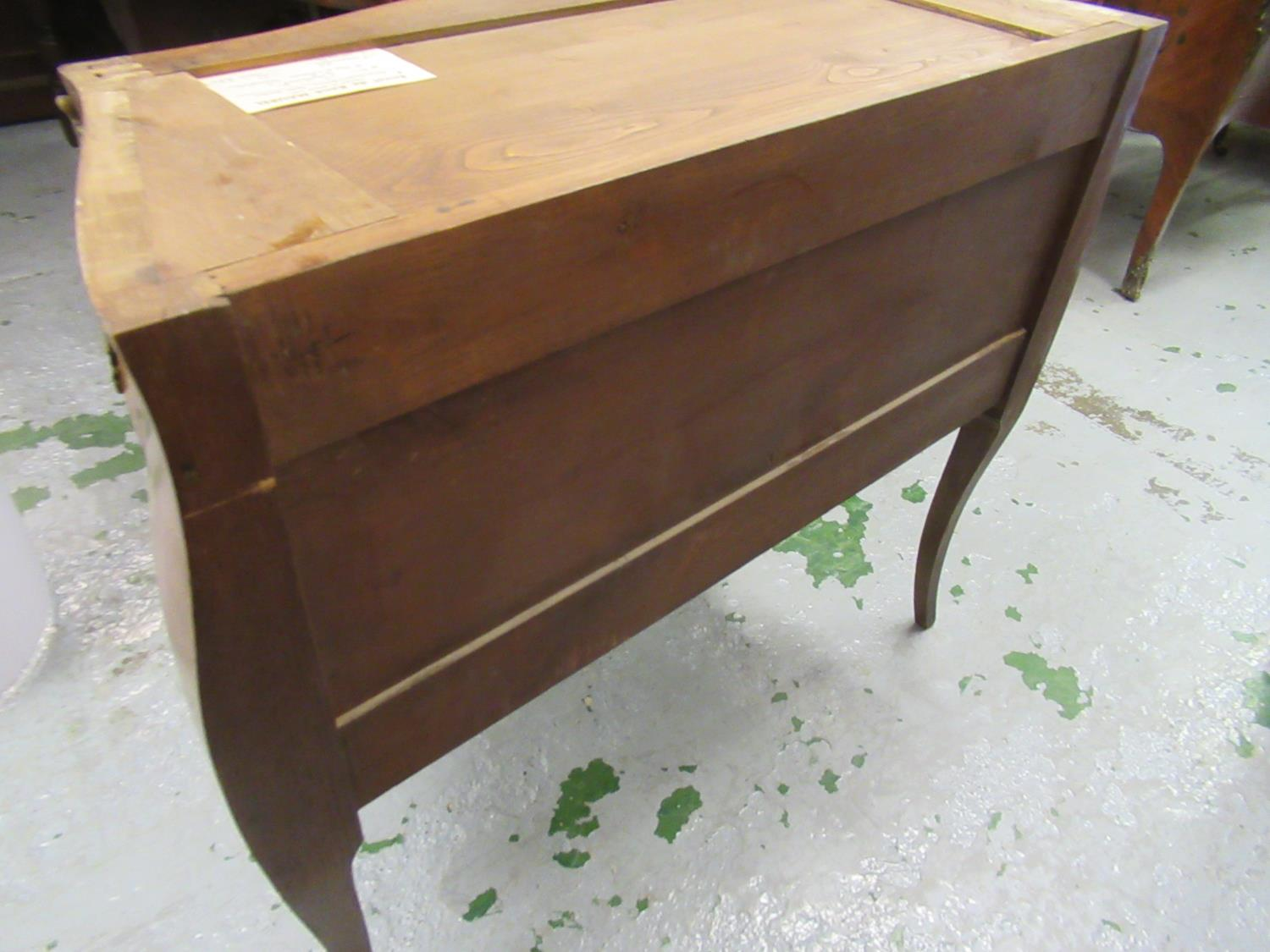 Small 20th Century French Kingwood inlaid and ormolu mounted commode, the rouge marble top above two - Image 7 of 12