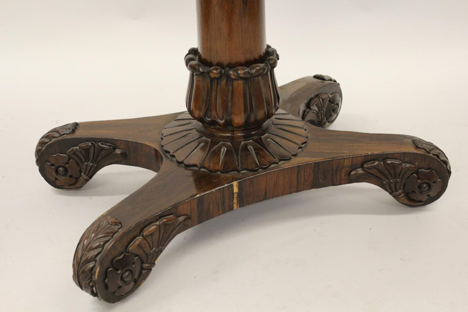 William IV rosewood fold-over card table with tulip carved column support and quadruped base, - Image 2 of 10