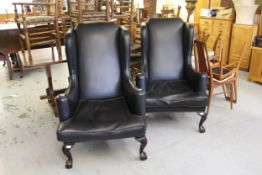 Pair of late 19th or early 20th Century wing armchairs, recently fully re-furbished and