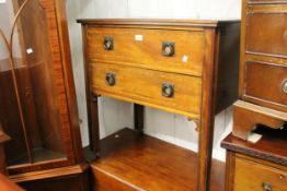Edwardian mahogany and satinwood crossbanded two drawer chest on square cut moulded supports