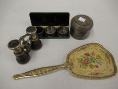 Set of three silver napkin rings in associated box, pair of silver plated and leather opera