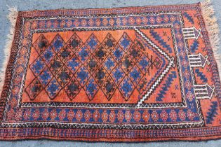 Small Afghan prayer rug, 3ft 8ins x 2ft 8ins approximately
