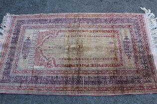Modern Turkish silk prayer rug, 4ft 6ins x 2ft 10ins approximately