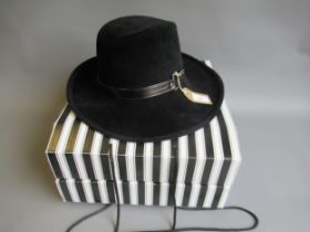 Walter Wright ' The London ' wide brimmed black fur felt fedora hat, complete with original