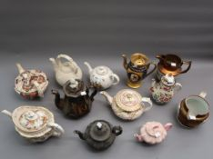 Collection of eight 19th Century English and Continental teapots including German handpainted and