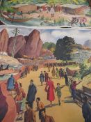 Double sided poster ' Bride La Stade ', another poster of an African village, a handpainted poster